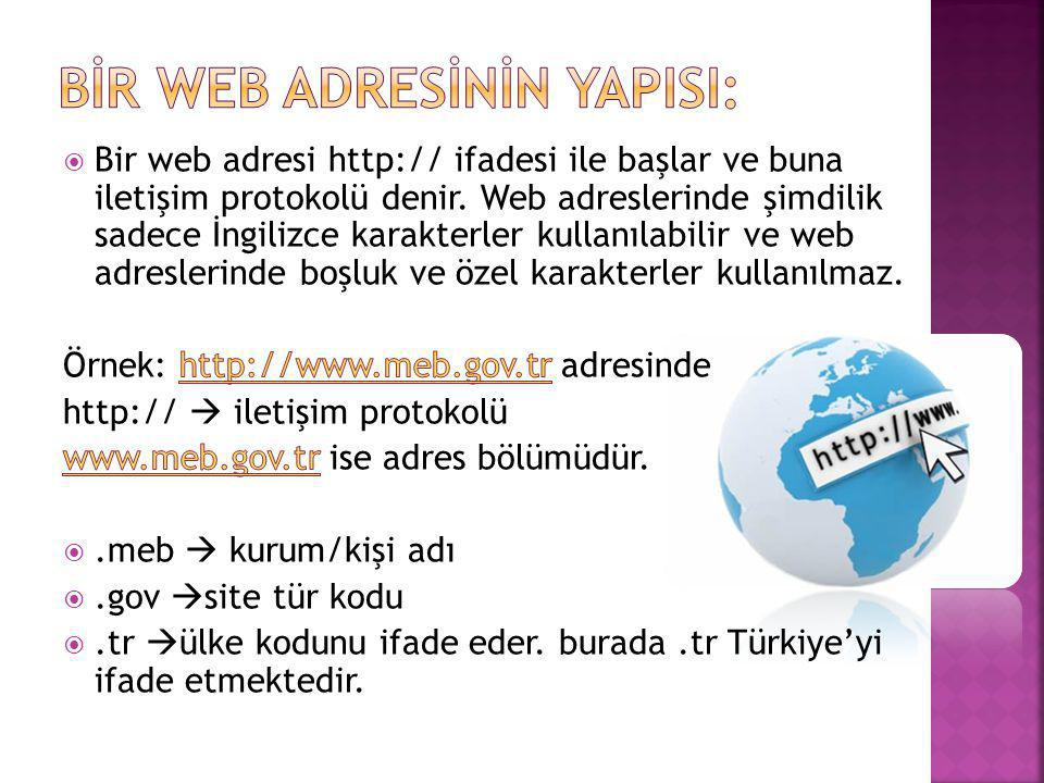 Bİr Web Adresİnİn YapIsI: