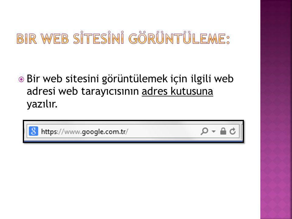 Bir Web Sİtesİnİ Görüntüleme: