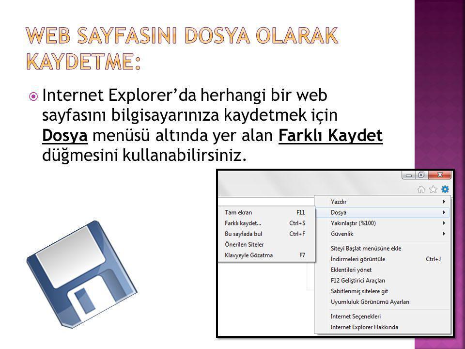 Web SayfasInI Dosya Olarak Kaydetme: