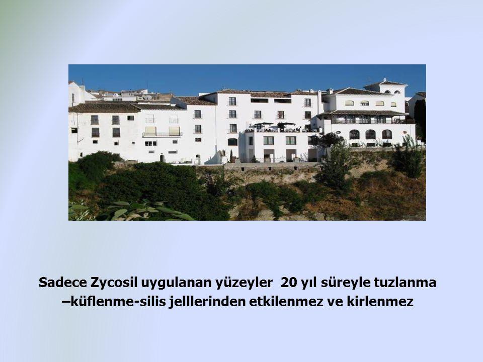 Sadece Zycosil uygulanan yüzeyler 20 yıl süreyle tuzlanma –küflenme-silis jelllerinden etkilenmez ve kirlenmez