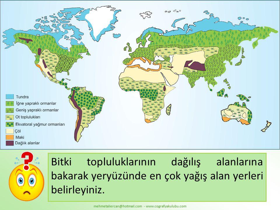 Bitki topluluklarının dağılış alanlarına bakarak yeryüzünde en çok yağış alan yerleri belirleyiniz.