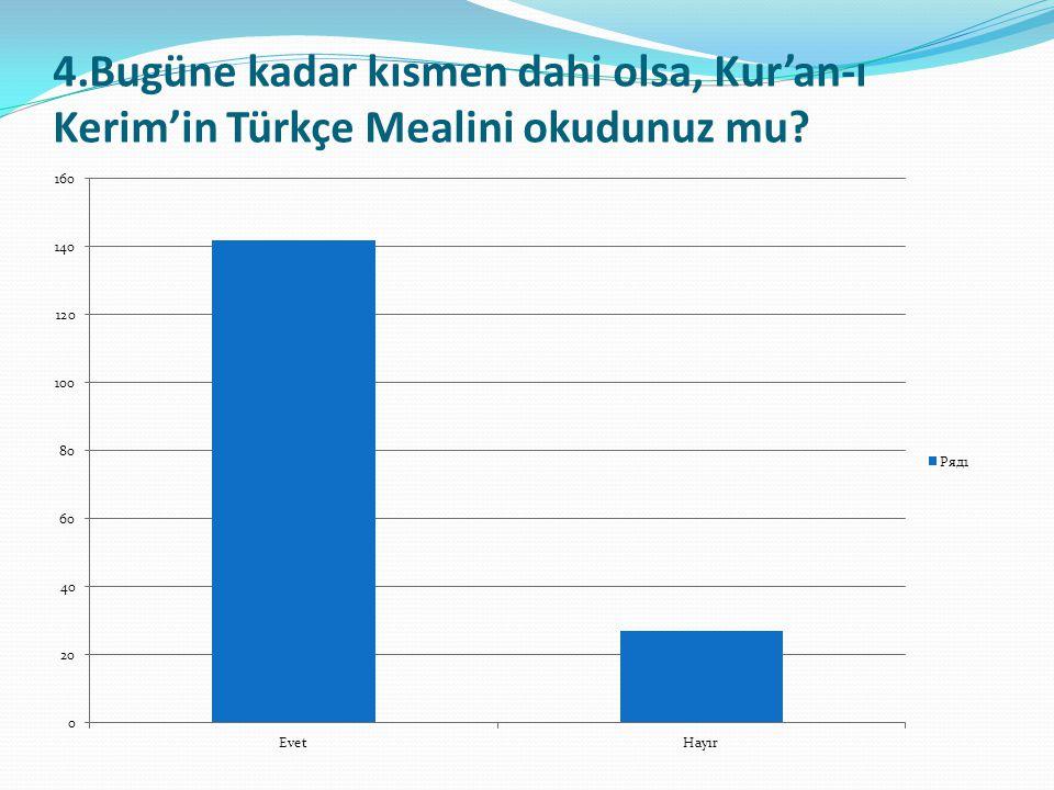 4.Bugüne kadar kısmen dahi olsa, Kur'an-ı Kerim'in Türkçe Mealini okudunuz mu