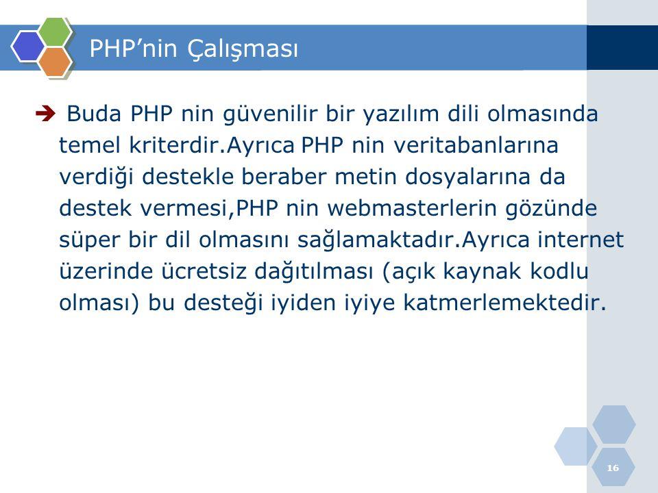 PHP'nin Çalışması