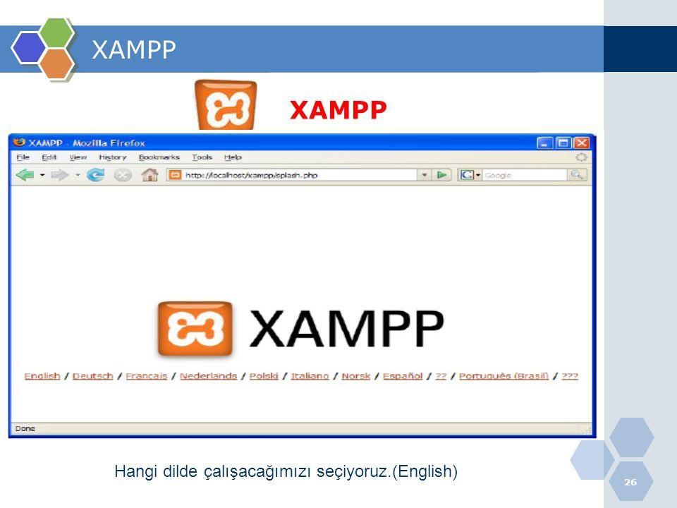 XAMPP XAMPP Hangi dilde çalışacağımızı seçiyoruz.(English)