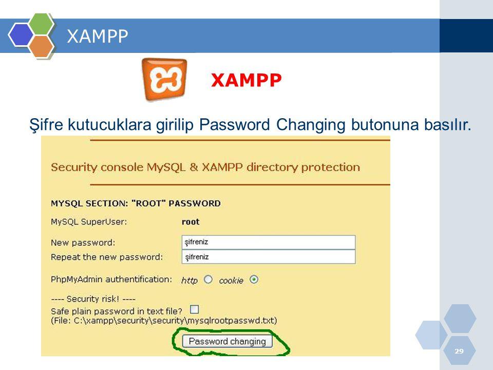 XAMPP XAMPP Şifre kutucuklara girilip Password Changing butonuna basılır.