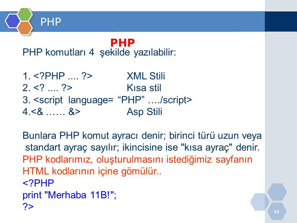 PHP PHP PHP komutları 4 şekilde yazılabilir: