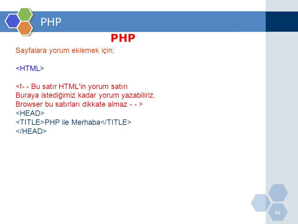 PHP PHP Sayfalara yorum eklemek için; <HTML>