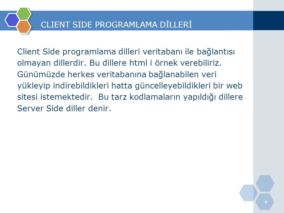 CLIENT SIDE PROGRAMLAMA DİLLERİ