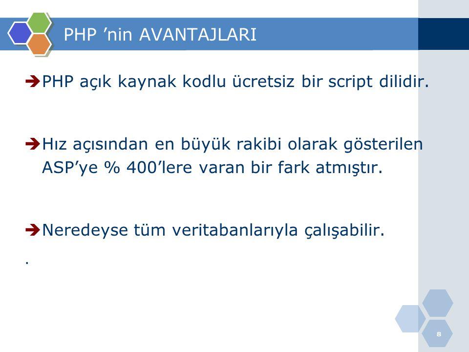 PHP 'nin AVANTAJLARI PHP açık kaynak kodlu ücretsiz bir script dilidir.