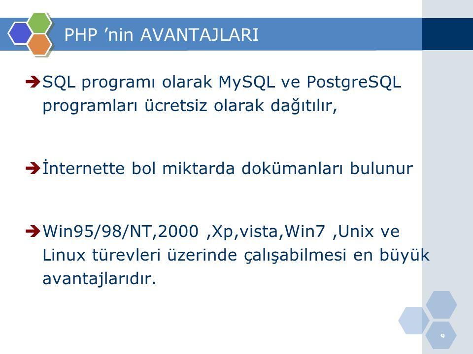 PHP 'nin AVANTAJLARI SQL programı olarak MySQL ve PostgreSQL programları ücretsiz olarak dağıtılır,