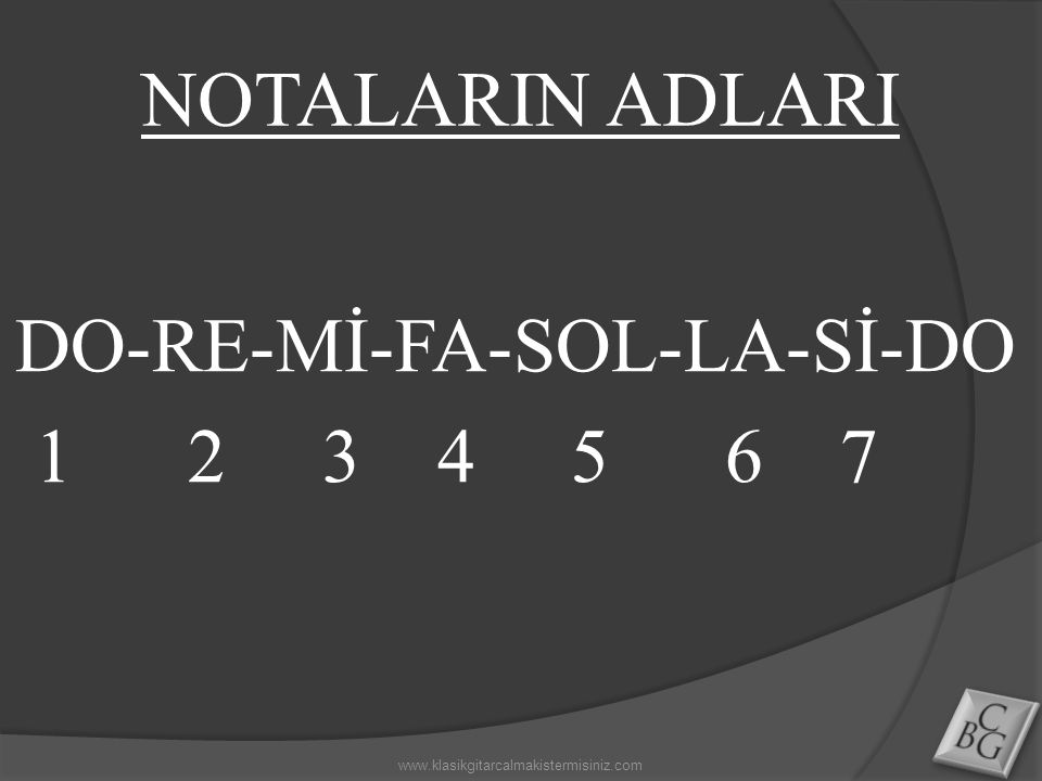 NOTALARIN ADLARI DO-RE-Mİ-FA-SOL-LA-Sİ-DO 1 2 3 4 5 6 7