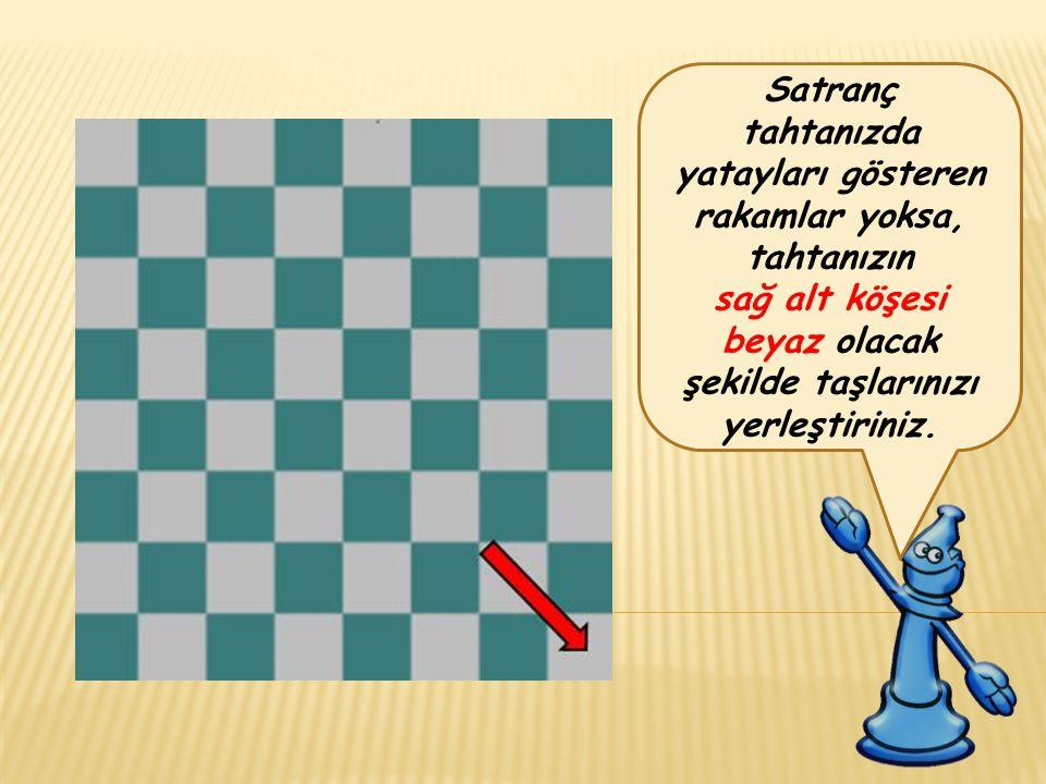 Satranç tahtanızda yatayları gösteren rakamlar yoksa, tahtanızın