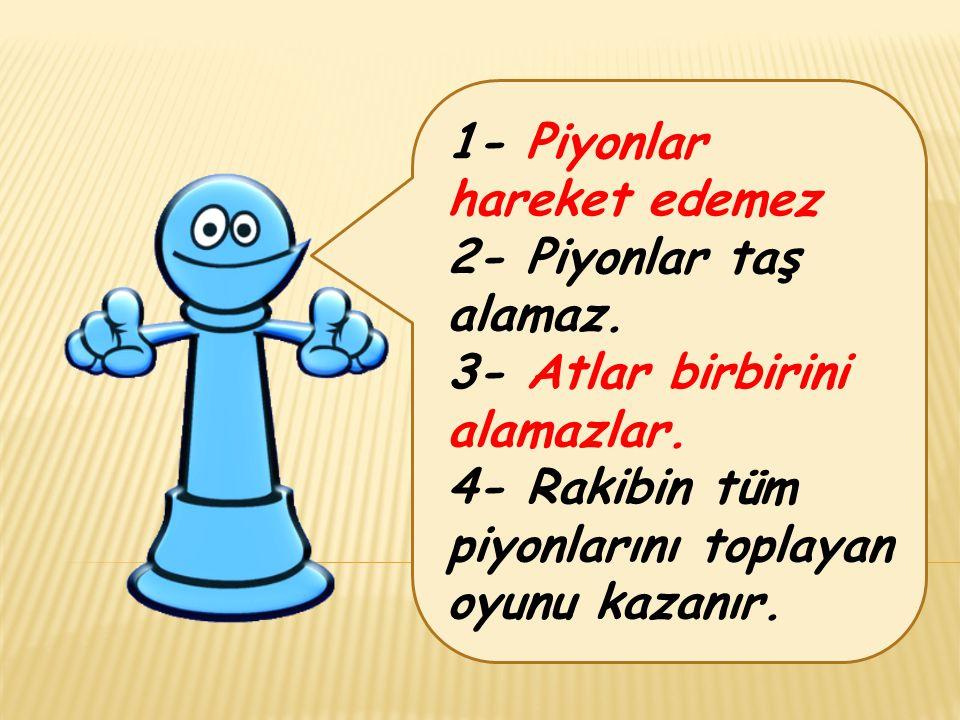 1- Piyonlar hareket edemez 2- Piyonlar taş alamaz.