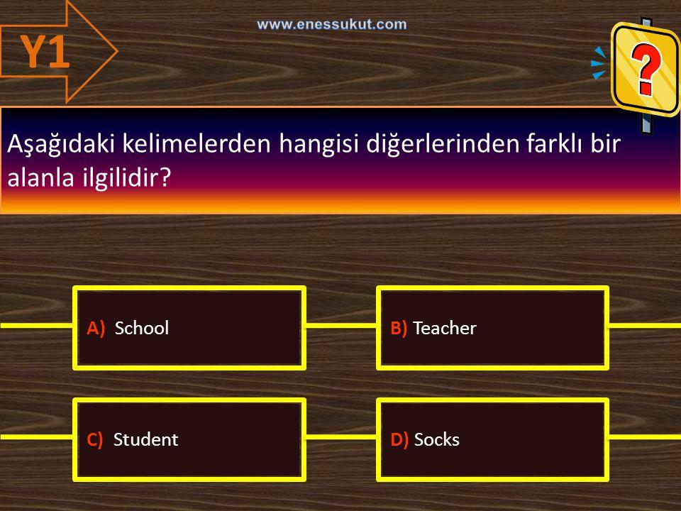 Y1 www.enessukut.com. Aşağıdaki kelimelerden hangisi diğerlerinden farklı bir alanla ilgilidir A) School.