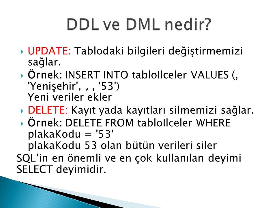 DDL ve DML nedir UPDATE: Tablodaki bilgileri değiştirmemizi sağlar.