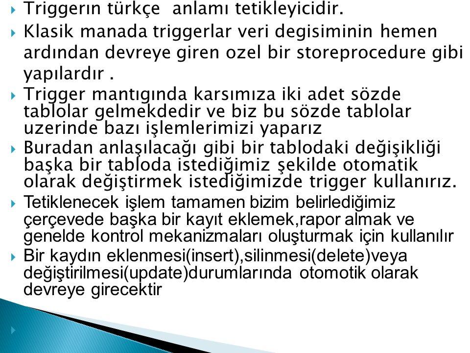 Triggerın türkçe anlamı tetikleyicidir.