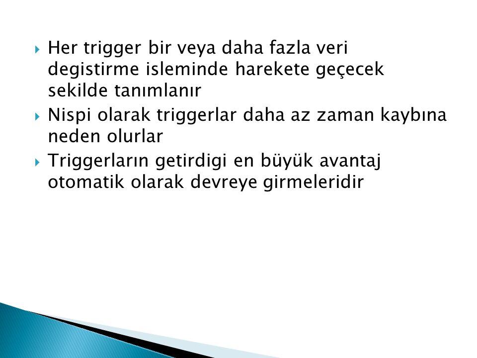 Her trigger bir veya daha fazla veri degistirme isleminde harekete geçecek sekilde tanımlanır