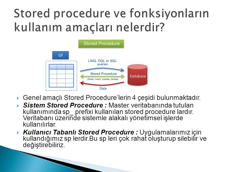Stored procedure ve fonksiyonların kullanım amaçları nelerdir
