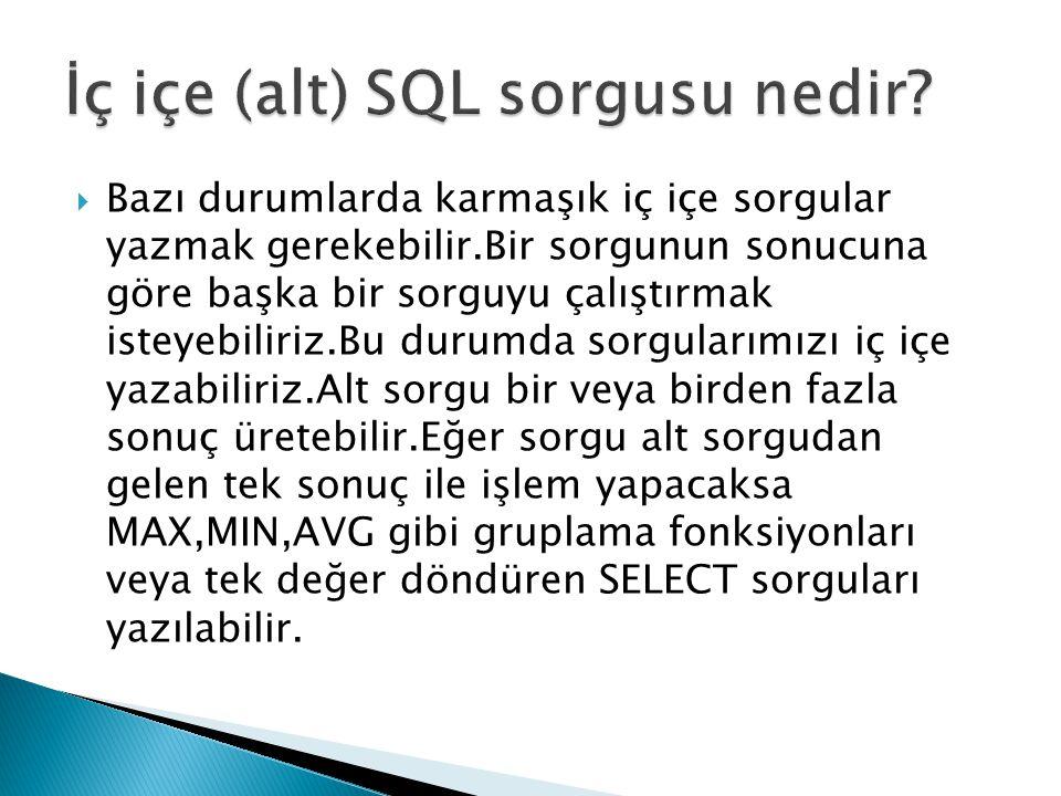 İç içe (alt) SQL sorgusu nedir