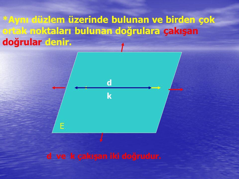 *Aynı düzlem üzerinde bulunan ve birden çok ortak noktaları bulunan doğrulara çakışan doğrular denir.