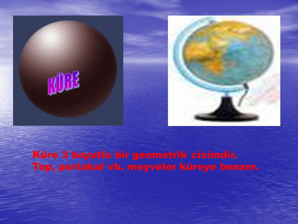 KÜRE Küre 3 boyutlu bir geometrik cisimdir. Top, portakal vb. meyveler küreye benzer.