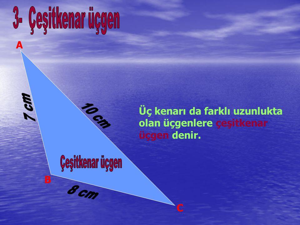 Üç kenarı da farklı uzunlukta olan üçgenlere çeşitkenar üçgen denir.