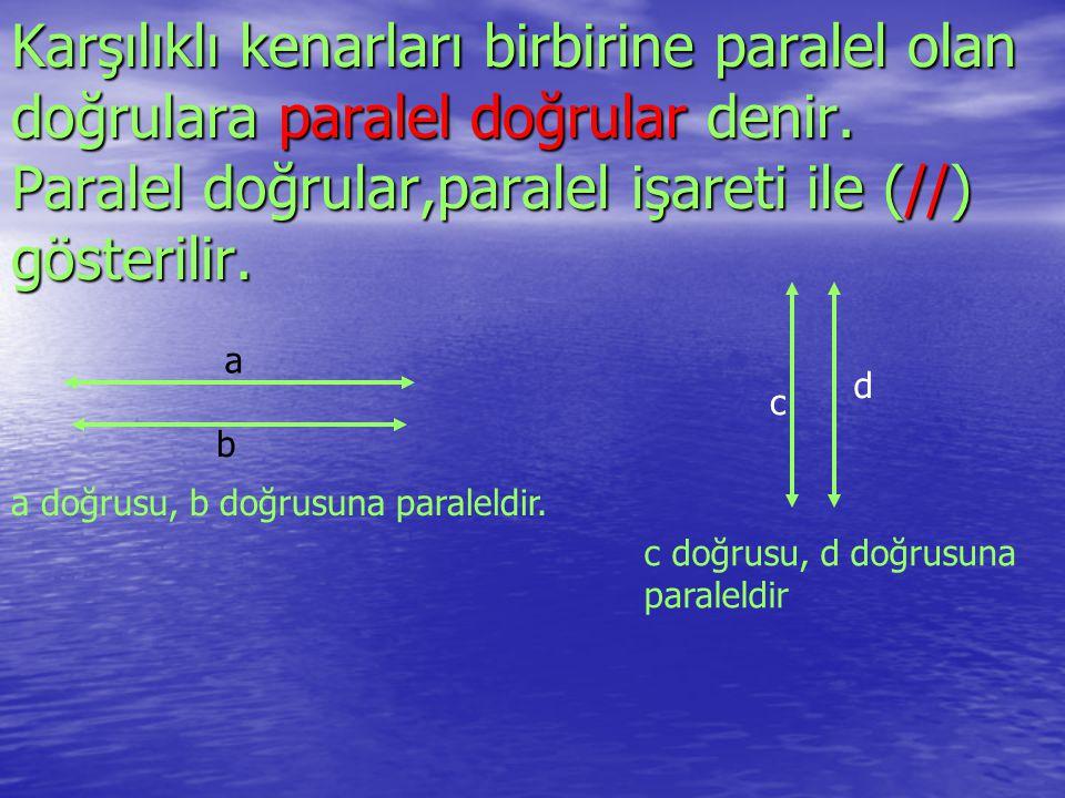 Karşılıklı kenarları birbirine paralel olan doğrulara paralel doğrular denir. Paralel doğrular,paralel işareti ile (//) gösterilir.