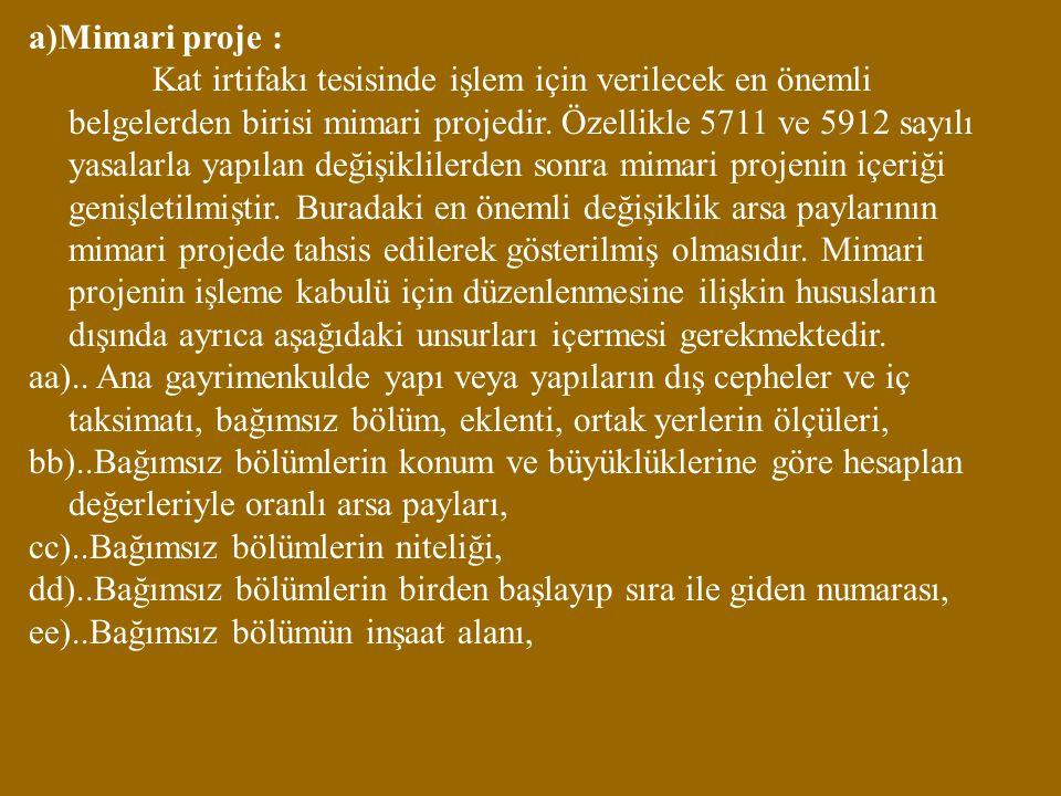 a)Mimari proje :