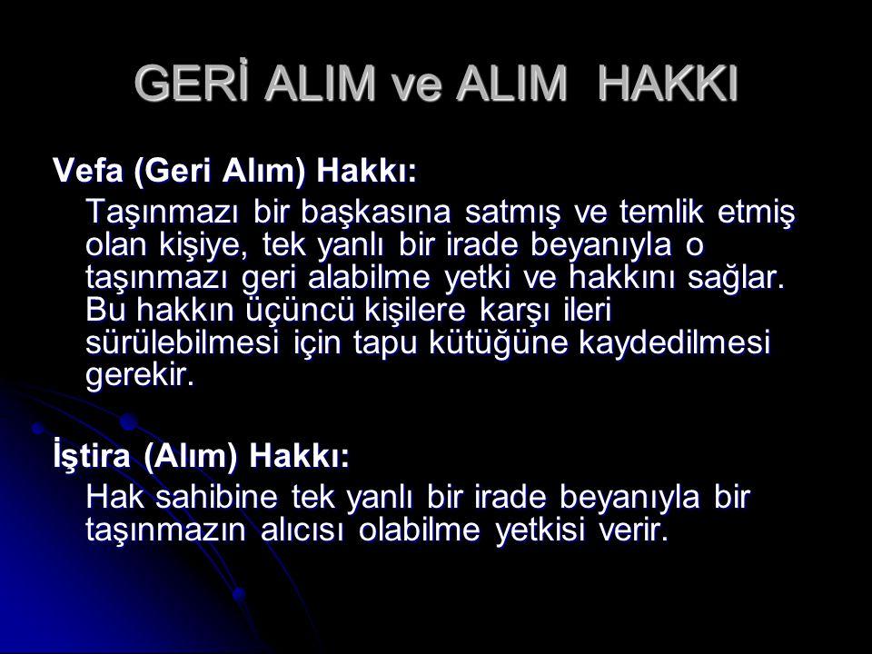 GERİ ALIM ve ALIM HAKKI Vefa (Geri Alım) Hakkı: