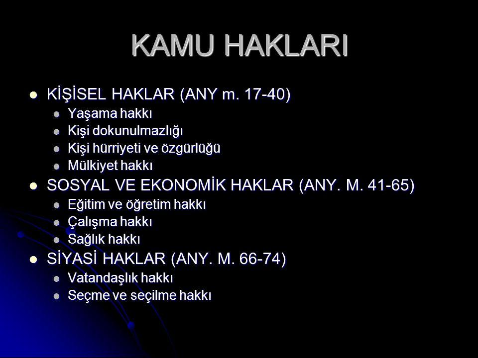 KAMU HAKLARI KİŞİSEL HAKLAR (ANY m. 17-40)