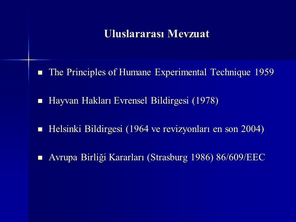Uluslararası Mevzuat The Principles of Humane Experimental Technique 1959. Hayvan Hakları Evrensel Bildirgesi (1978)