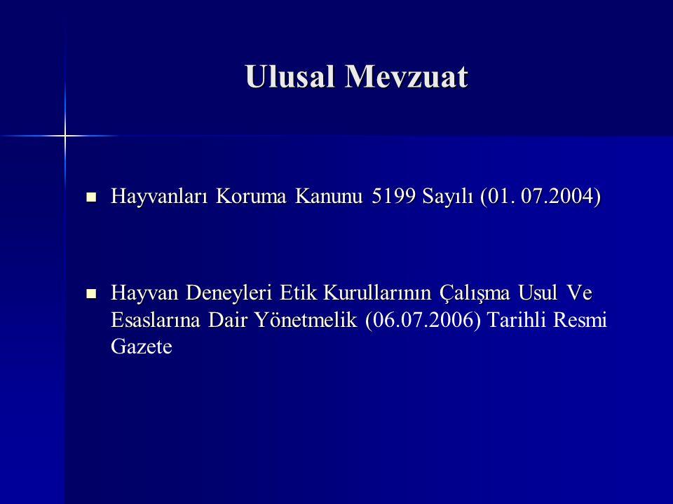 Ulusal Mevzuat Hayvanları Koruma Kanunu 5199 Sayılı (01. 07.2004)