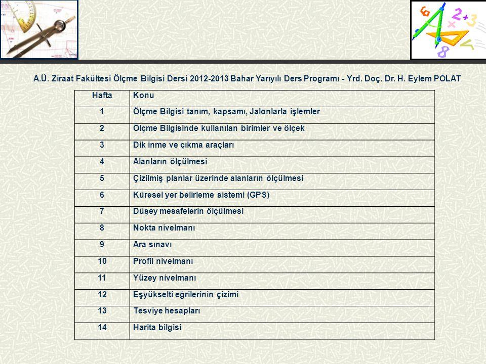 A.Ü. Ziraat Fakültesi Ölçme Bilgisi Dersi 2012-2013 Bahar Yarıyılı Ders Programı - Yrd. Doç. Dr. H. Eylem POLAT