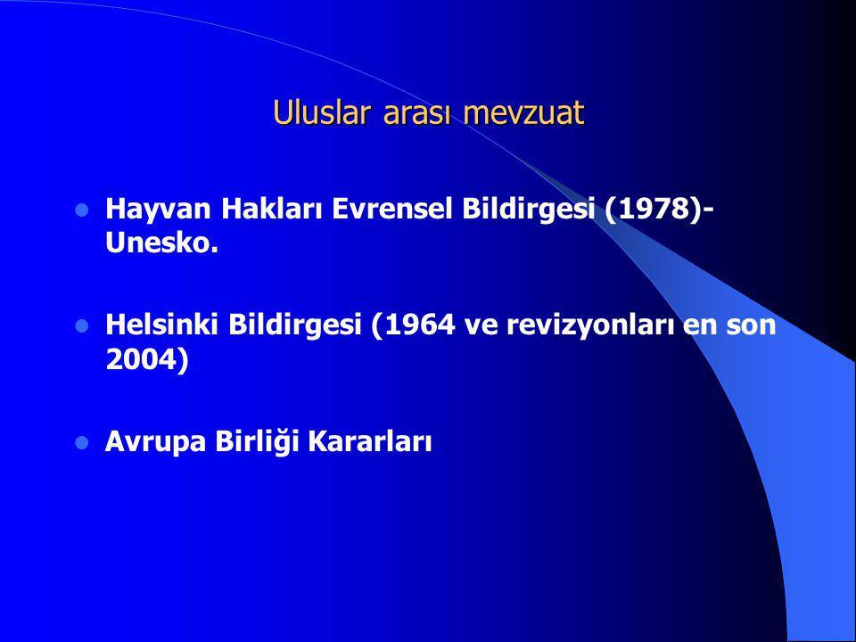 Uluslar arası mevzuat Hayvan Hakları Evrensel Bildirgesi (1978)- Unesko. Helsinki Bildirgesi (1964 ve revizyonları en son 2004)
