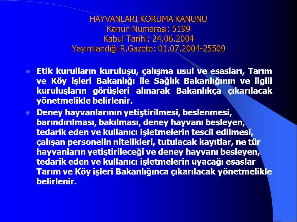 HAYVANLARI KORUMA KANUNU Kanun Numarası: 5199 Kabul Tarihi: 24. 06