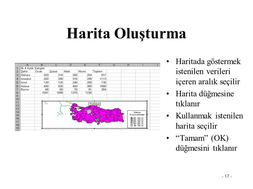 Harita Oluşturma Haritada göstermek istenilen verileri içeren aralık seçilir. Harita düğmesine tıklanır.