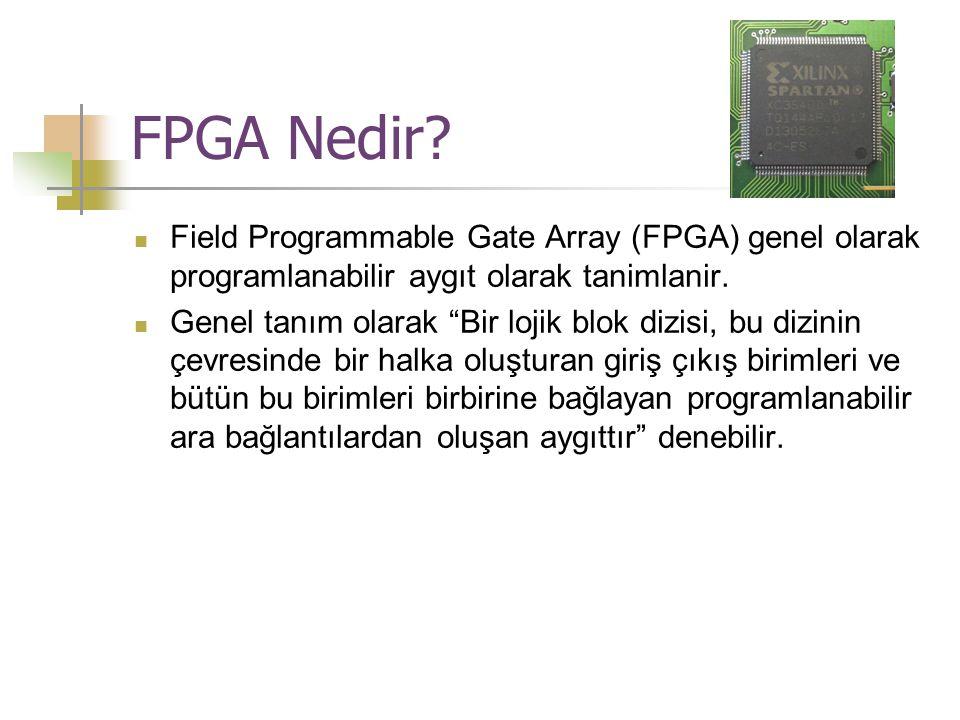 FPGA Nedir Field Programmable Gate Array (FPGA) genel olarak programlanabilir aygıt olarak tanimlanir.