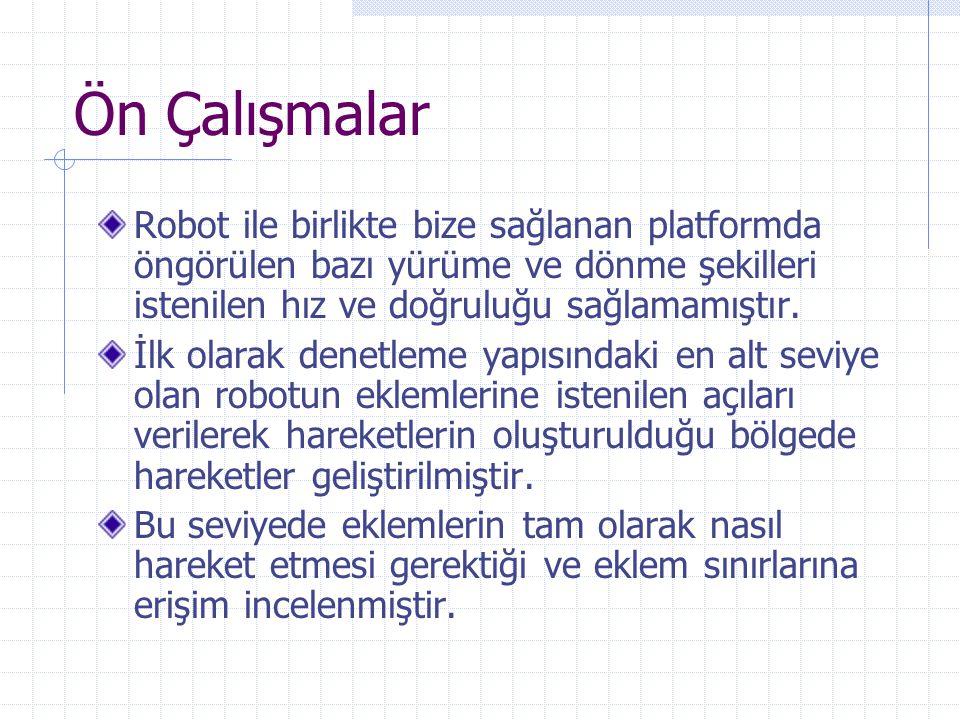 Ön Çalışmalar Robot ile birlikte bize sağlanan platformda öngörülen bazı yürüme ve dönme şekilleri istenilen hız ve doğruluğu sağlamamıştır.