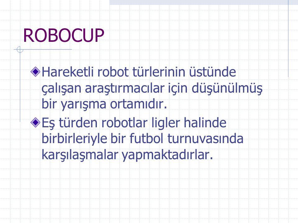 ROBOCUP Hareketli robot türlerinin üstünde çalışan araştırmacılar için düşünülmüş bir yarışma ortamıdır.