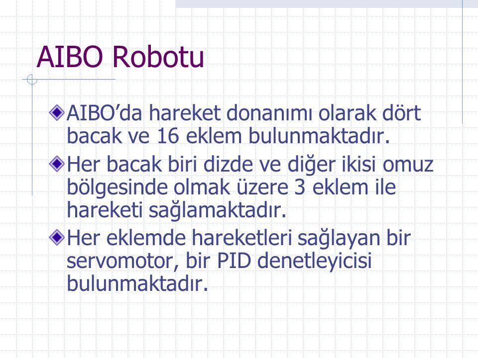 AIBO Robotu AIBO'da hareket donanımı olarak dört bacak ve 16 eklem bulunmaktadır.