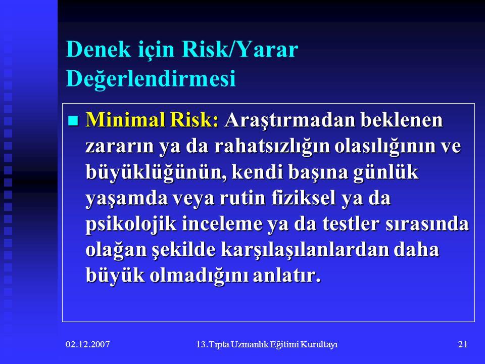 Denek için Risk/Yarar Değerlendirmesi