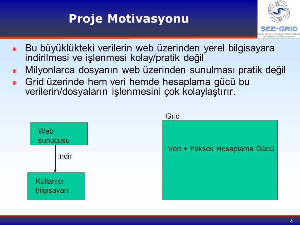 Proje Motivasyonu Bu büyüklükteki verilerin web üzerinden yerel bilgisayara indirilmesi ve işlenmesi kolay/pratik değil.
