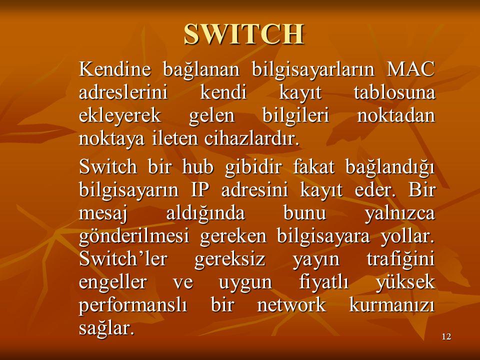 SWITCH Kendine bağlanan bilgisayarların MAC adreslerini kendi kayıt tablosuna ekleyerek gelen bilgileri noktadan noktaya ileten cihazlardır.