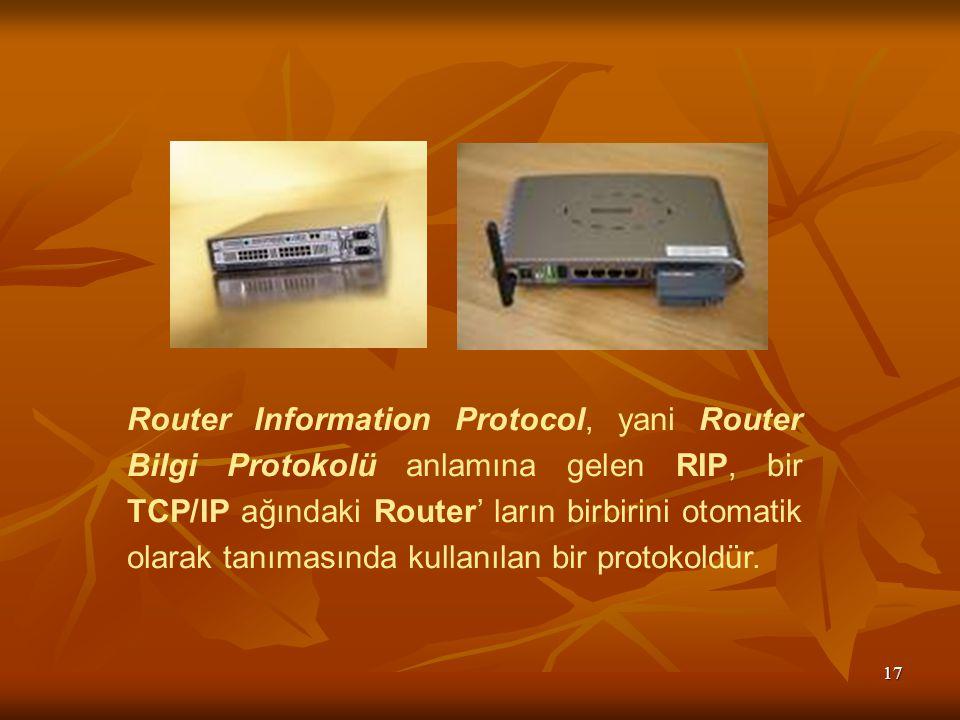 Router Information Protocol, yani Router Bilgi Protokolü anlamına gelen RIP, bir TCP/IP ağındaki Router' ların birbirini otomatik olarak tanımasında kullanılan bir protokoldür.