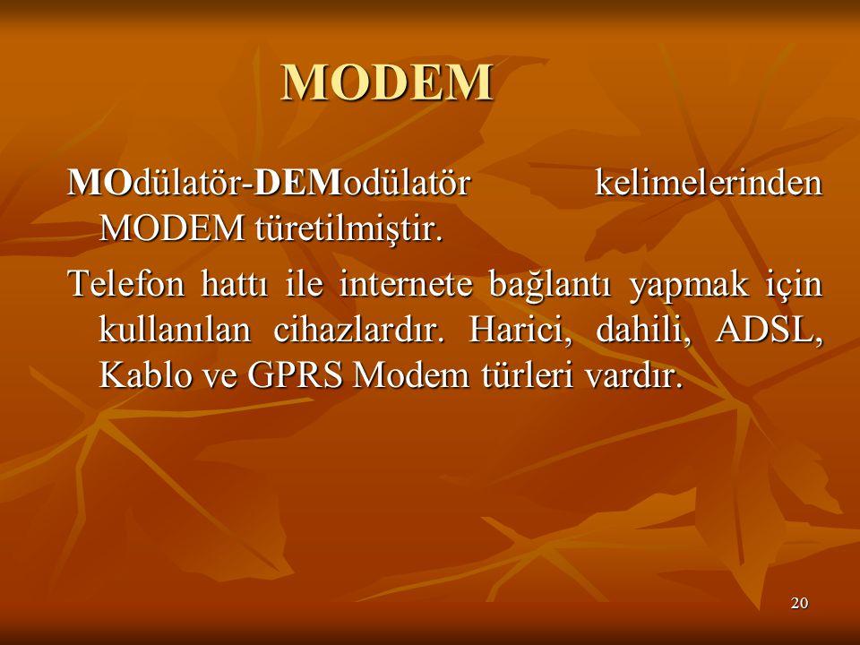 MODEM MOdülatör-DEModülatör kelimelerinden MODEM türetilmiştir.