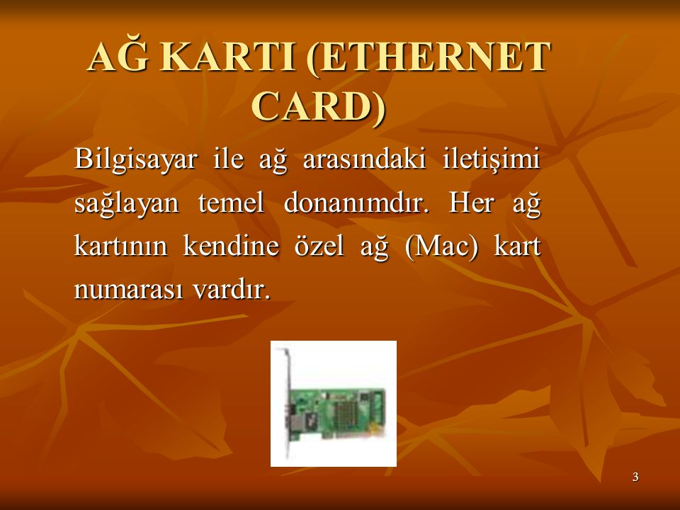 AĞ KARTI (ETHERNET CARD)