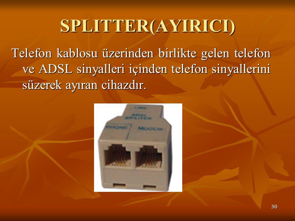 SPLITTER(AYIRICI) Telefon kablosu üzerinden birlikte gelen telefon ve ADSL sinyalleri içinden telefon sinyallerini süzerek ayıran cihazdır.