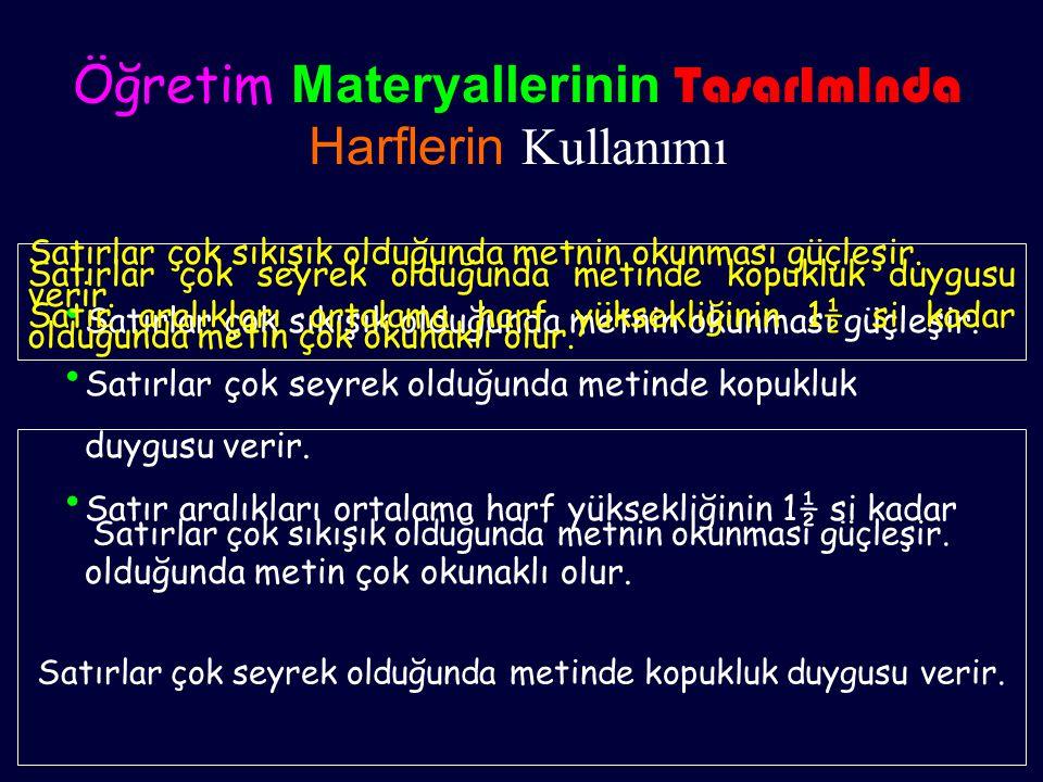 Öğretim Materyallerinin TasarImInda Harflerin Kullanımı