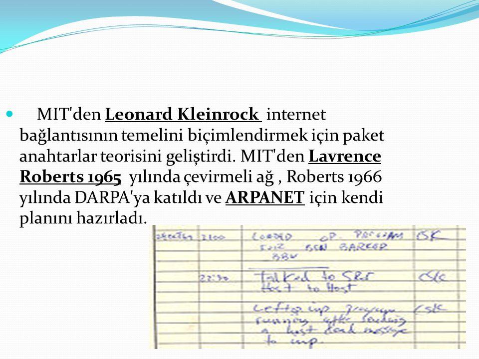 MIT den Leonard Kleinrock internet bağlantısının temelini biçimlendirmek için paket anahtarlar teorisini geliştirdi.