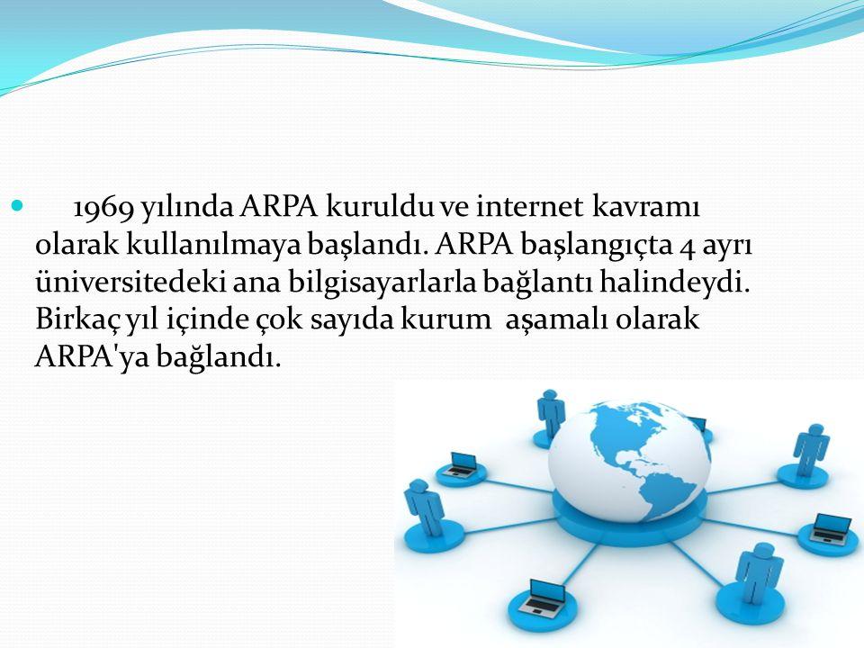 1969 yılında ARPA kuruldu ve internet kavramı olarak kullanılmaya başlandı.